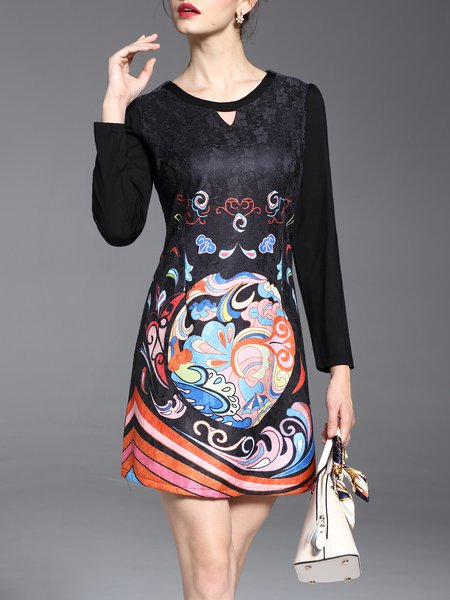 Black Casual Crew Neck Abstract A-line Midi Dress