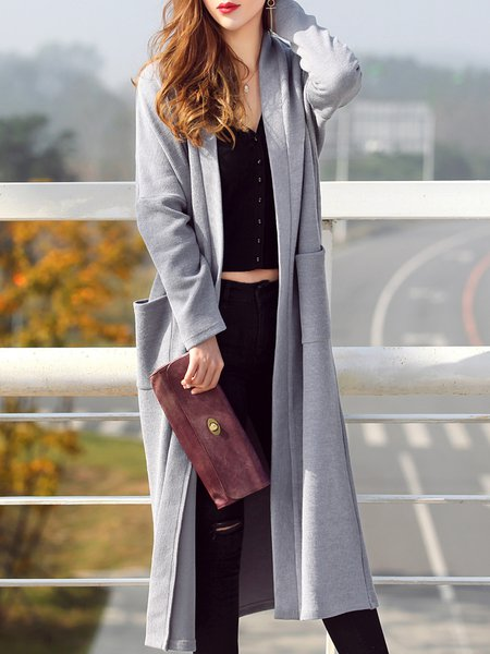 Knitted Simple Long Sleeve Cotton-blend Plain Cardigan