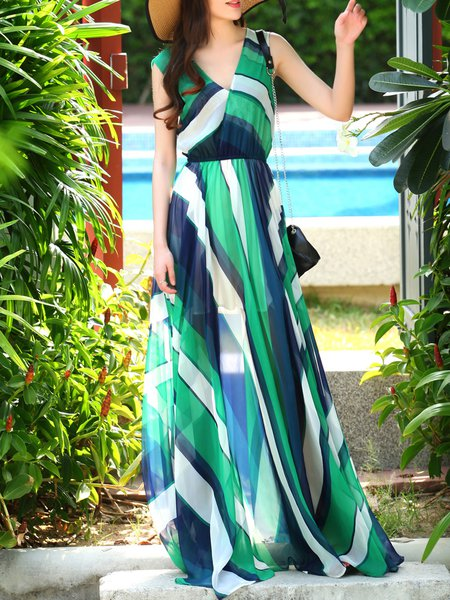 Multicolor Swing Stripes Printed Sleeveless Maxi Dress