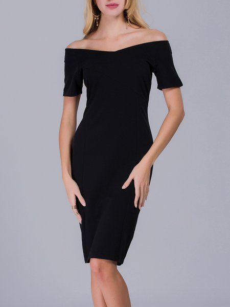Black Sheath Solid Elegant Off Shoulder Midi Dress