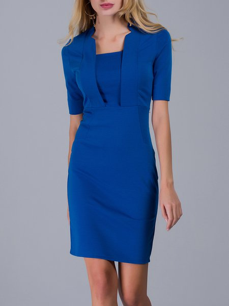 Blue Elegant Stand Collar Bodycon Midi Dress