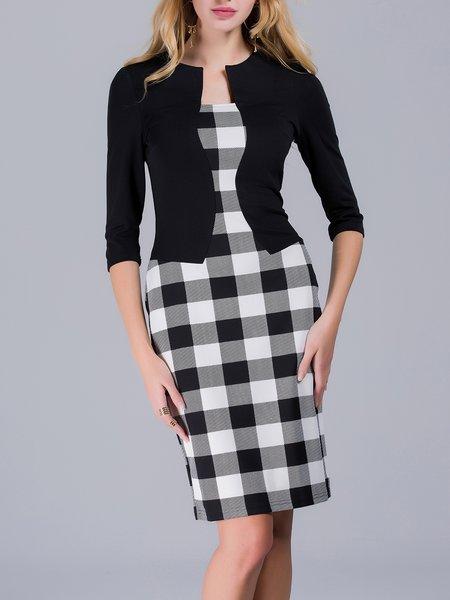 Black Bodycon Checkered/Plaid 3/4 Sleeve Paneled Midi Dress