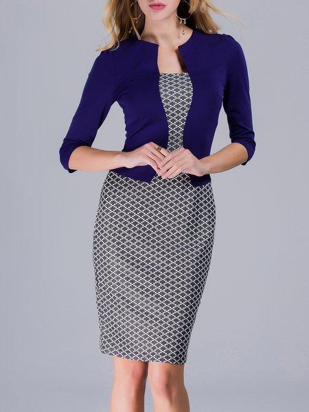 Geometric Cotton-blend 3/4 Sleeve Elegant Work Dress