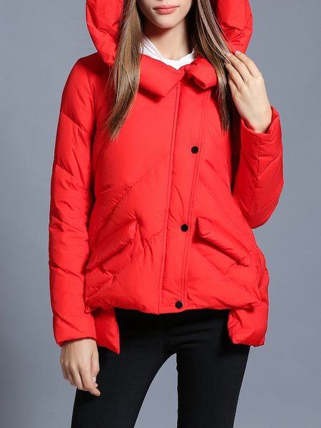 Red Solid Asymmetrical Casual Hoodie Down Coat