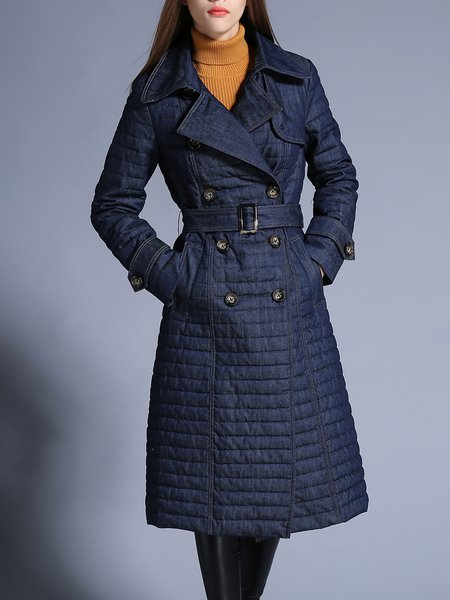 Long Sleeve A-line Casual Buttoned Denim Down Coat With Belt