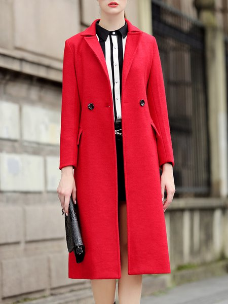 Casual A-line Long Sleeve Buttoned Polyester Coat