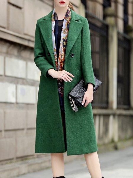 Green Lapel Pockets Elegant Solid Wool blend Coat