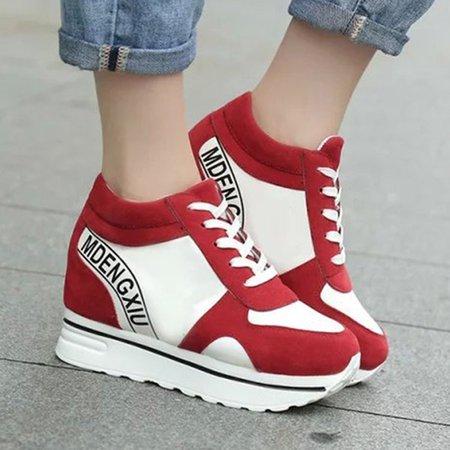 Casual Lace-up PU All Season Wedge Heel Sneakers