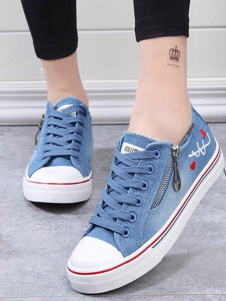 Dark Blue Casual Zipper Canvas Shoes