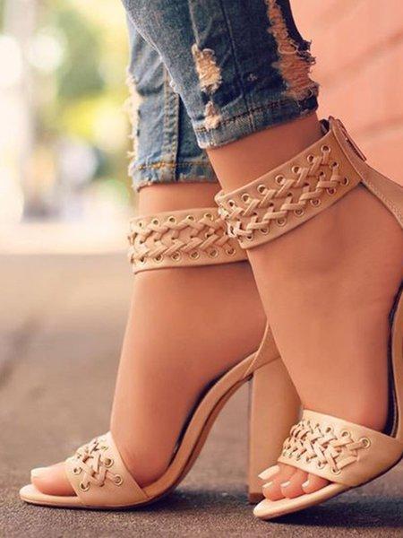 Apricot PU Spring/Fall Chunky Heel Sandals
