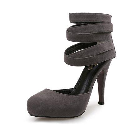 Gray Stiletto Heel Round Toe Heels