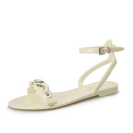White Buckle Flat Heel TPU Sling Back Sandals