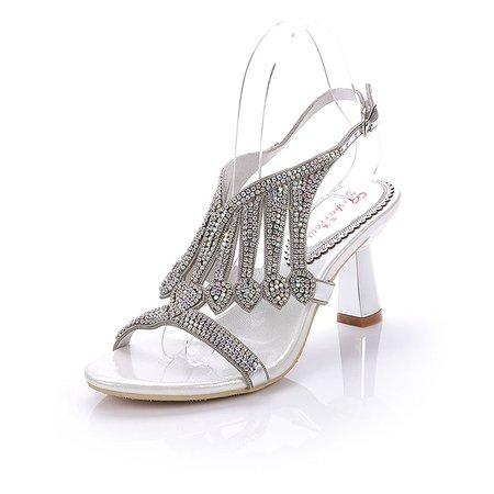 Silver-color Rhinestone Dress Spool Heel PU Sandals