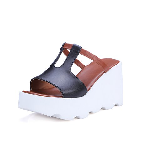 Black Casual Platform Leather Slippers