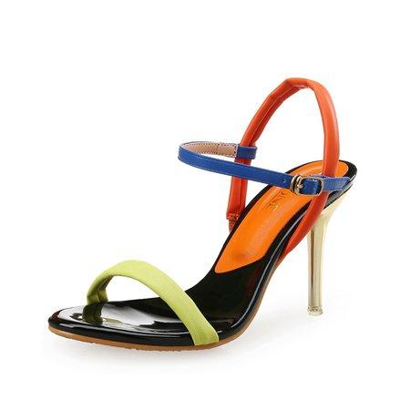 Green Dress Stiletto Heel Sandals