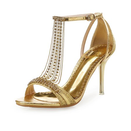 Golden-Color Stiletto Heel Party & Evening PU Sandals