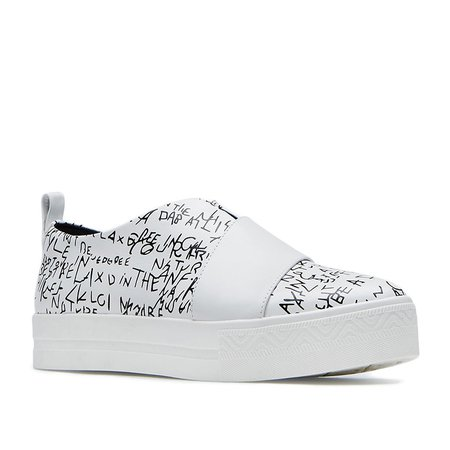 White Platform Leather Comfort Sneakers