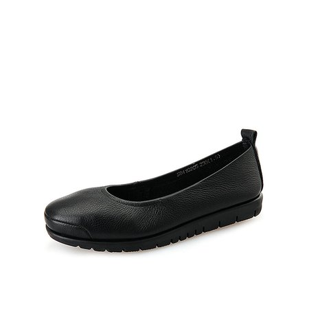 Black Flat Heel Leather Comfort Flats
