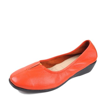 Orange Gore Casual Cowhide Leather Flat Heel Summer Flats