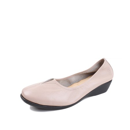 Ivory Flat Heel Summer Casual Gore Cowhide Leather Flats