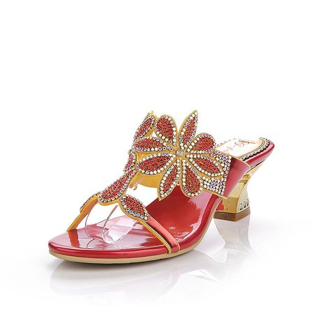 Red Rhinestone Summer PU Casual Spool Heel Slippers