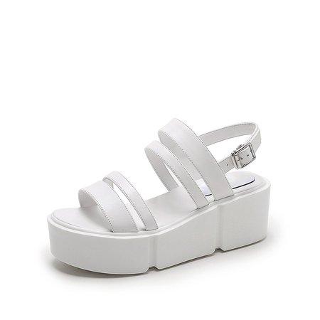 Creeper White Platform Leather Sandals