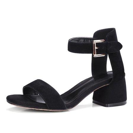 Black  Chunky Heel Suede Sandals
