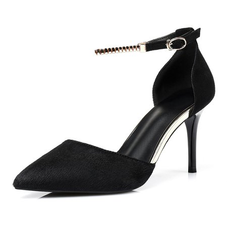 Black Stiletto Heel Mohair Pointed Toe Heels