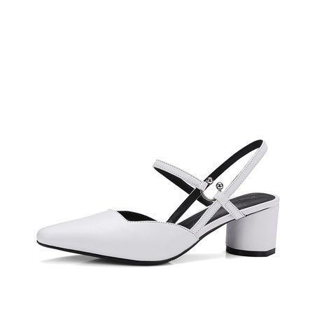 White Chunky Heel Office  Leather Sandals