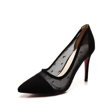 Black Stiletto Heel Split Joint Suede Heels