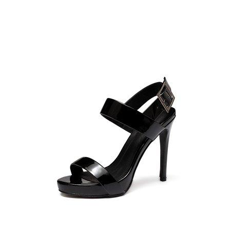 Black Buckle Patent Leather Dress Sandals