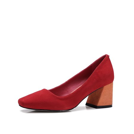 Red Split Joint Spring/Fall Dress Leather Chunky Heel Heels