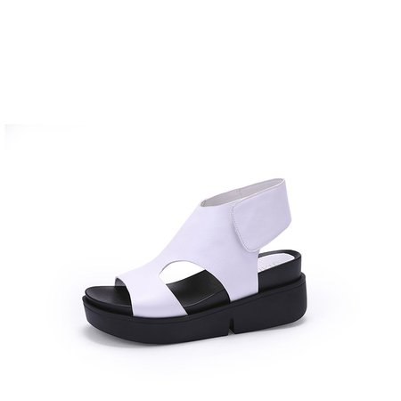 White Platform Leather Casual Sandals