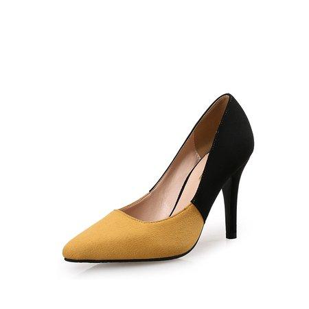 Yellow Suede Summer Stiletto Heel Dress Heels