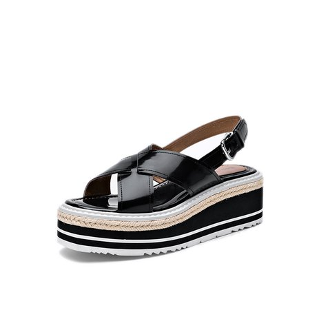Black Platform Buckle Casual Sandals