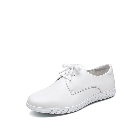 White Spring/Fall Leather Lace-up Sneakers