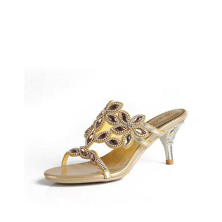 Golden-Color Stiletto Heel Summer Rhinestone PU Slippers