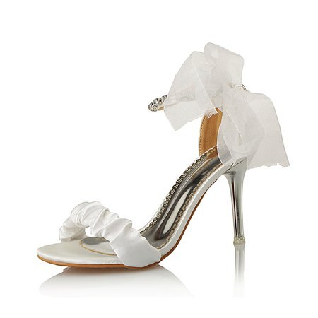 White Stiletto Heel Rhinestone Ruched Heels