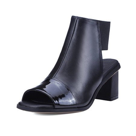 Black Hollow-out Leather Sandals