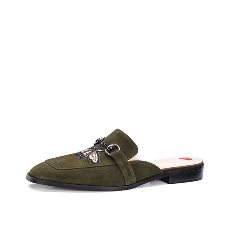 Army Green Summer Flat Heel Animal Print Suede Casual Slippers