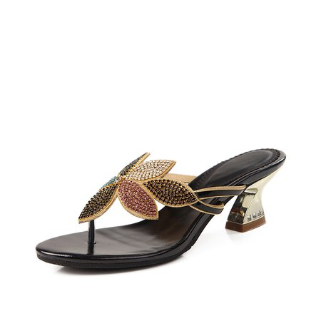 Black Rhinestone Summer Spool Heel Slippers