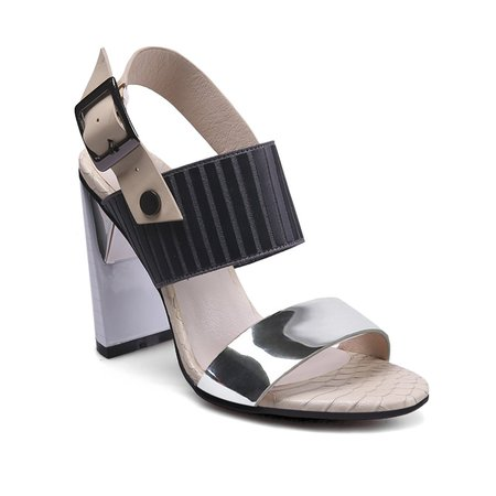 Apricot Leather Summer Buckle Sandals