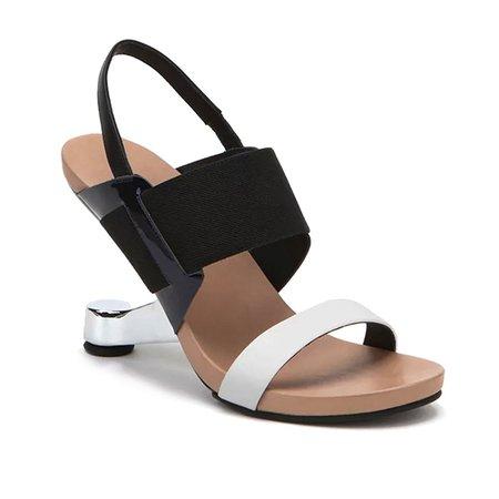 White Summer Split Joint Leather Sandals