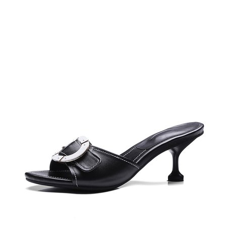 Black Summer Kitten Heel Cowhide Leather Slippers