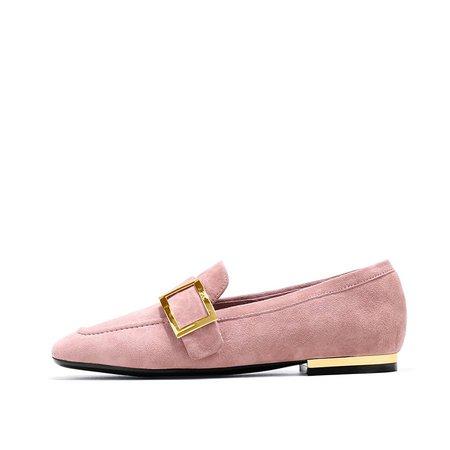 Pink Suede Flat Heel Loafers