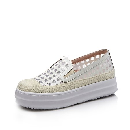 White Casual Summer Leather Platform Loafers