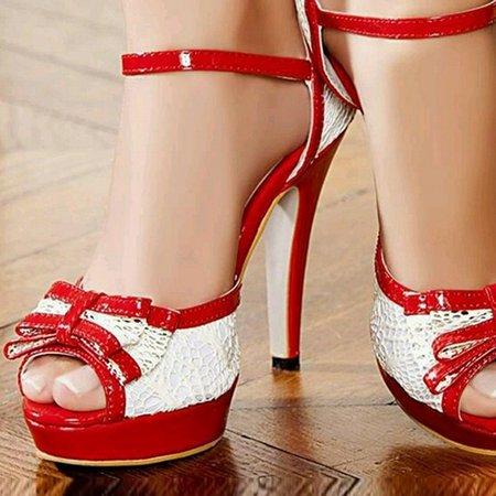 Red Wedge Heel Sandals