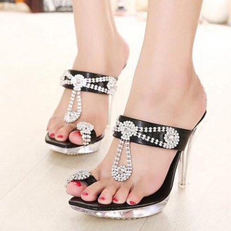 Black PU Summer Rhinestone Slippers