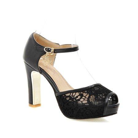Black Mesh Summer Sandals
