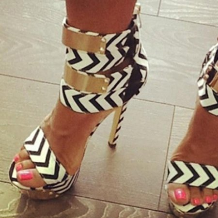 Black-white Stiletto Heel Cloth Summer Casual Heels